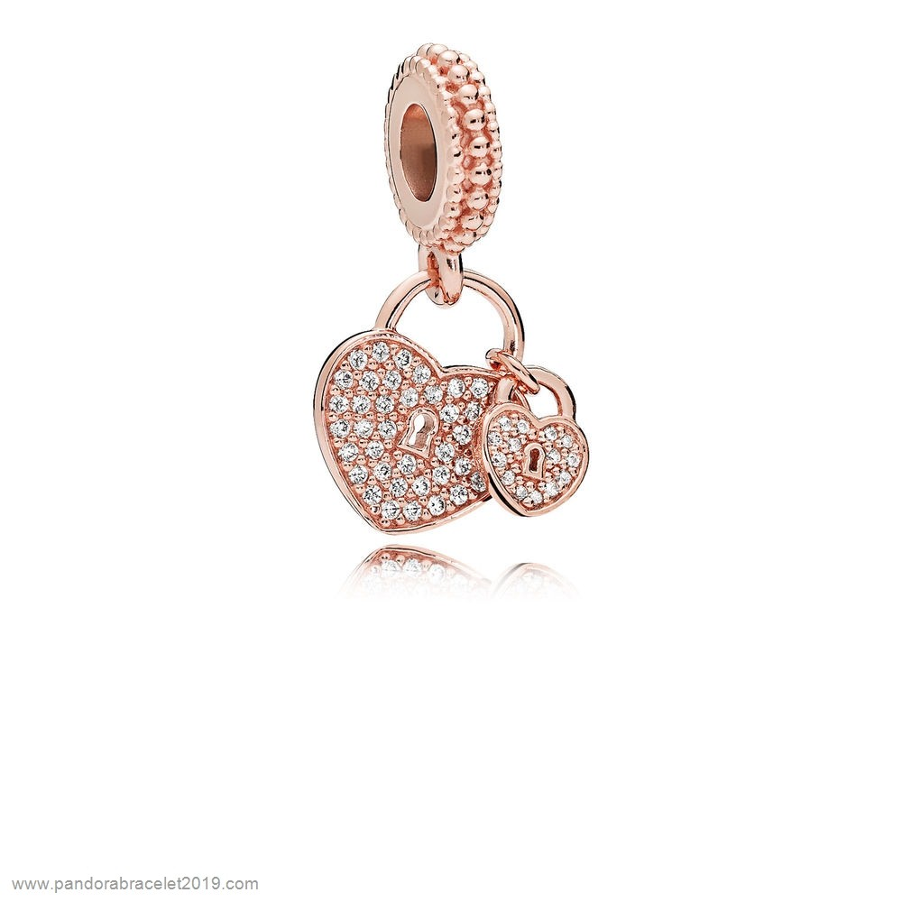 Magasins Pandora Colgantes Pandora Pandora Amor Locks Dangle Encanto Rose Pendant Clear Cz